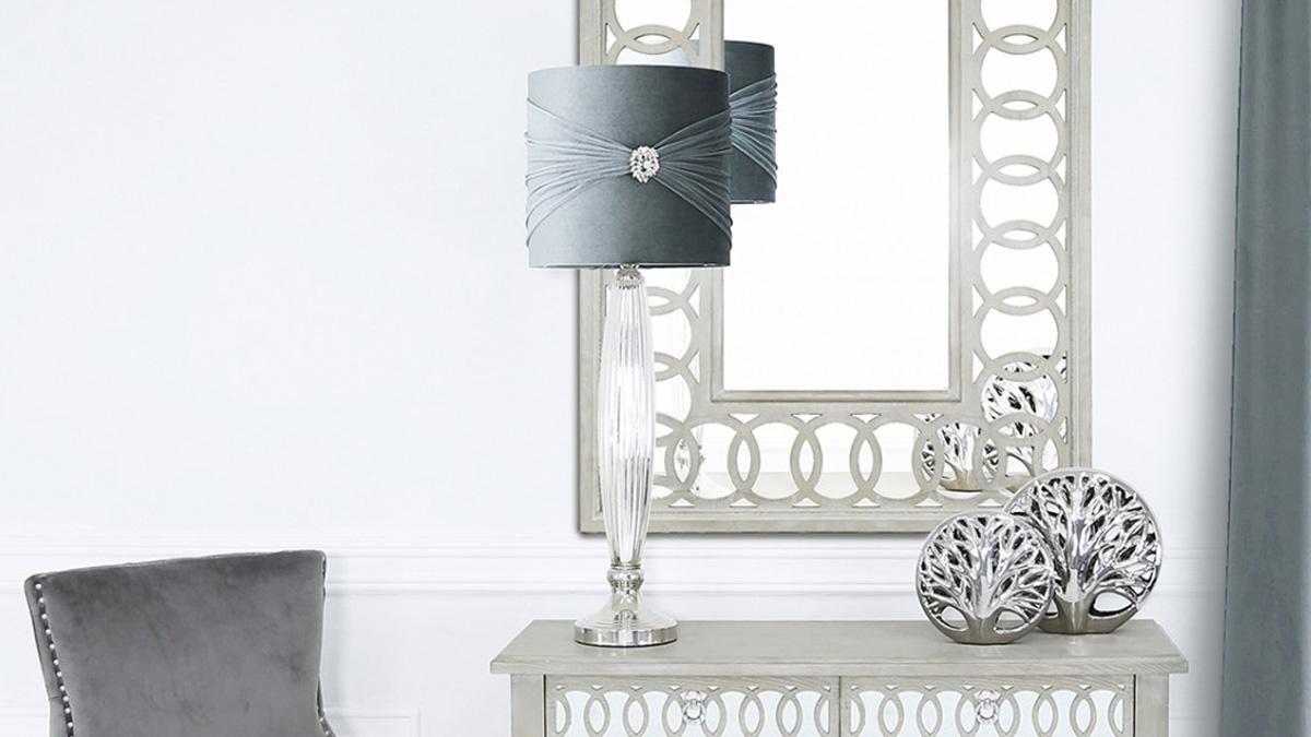 Chrome Glass Grey Brooch Table Lamp