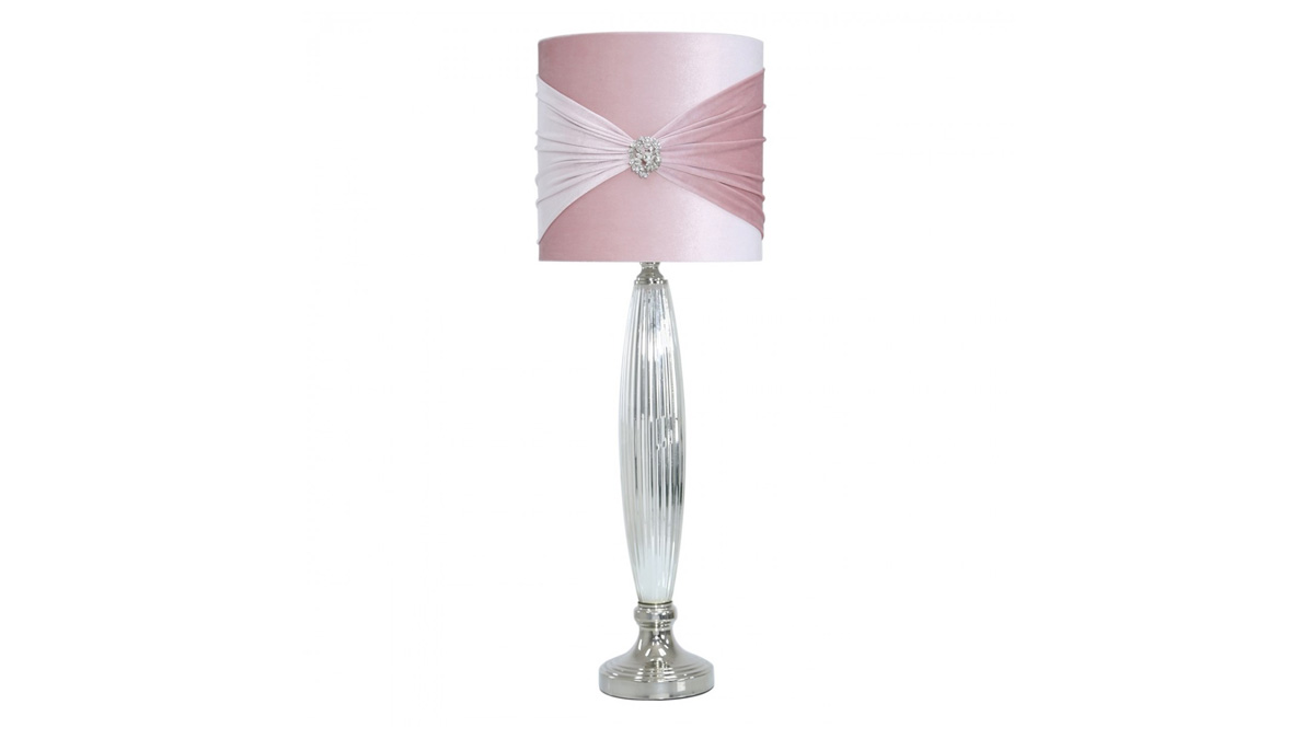 Chrome Glass Pink Brooch Table Lamp