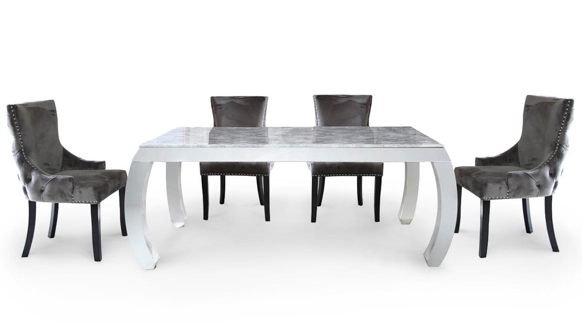 Raquel Marble Grey Dining Set