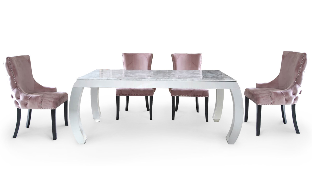 Picture of: Raquel Marble Dining Set With Polished Stainless Steel Plinth And Pink Velvet Chairs