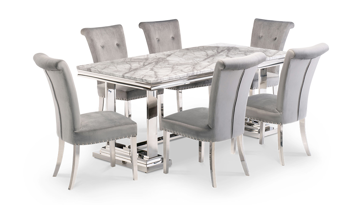 Mitsy Marble Grey Dining Set