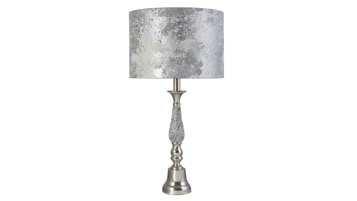 Silver Diamante Candlestick Table Lamp - Small